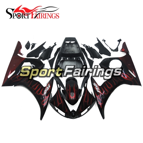 Fairing Kit Fit For Yamaha YZF R6 2005 -  Black Red Flames