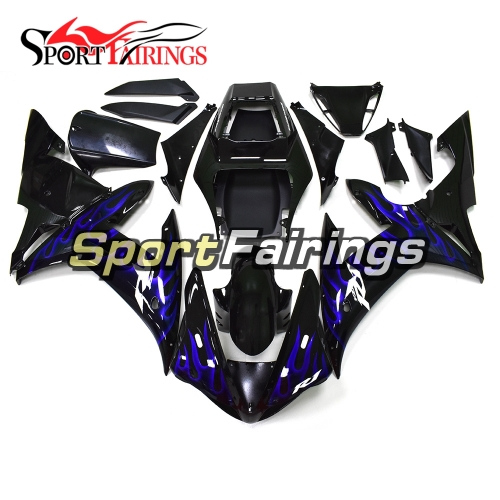 Fairing Kit Fit For Yamaha YZF R1 2002 2003 - Black Blue Flames