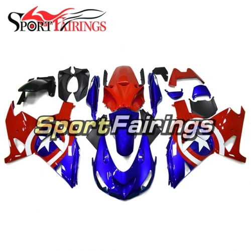 Full Fairing Kit Fit For Kawasaki ZX-14R /ZZ-R1400 2006 - 2011  - Glossy Blue Red With Stars