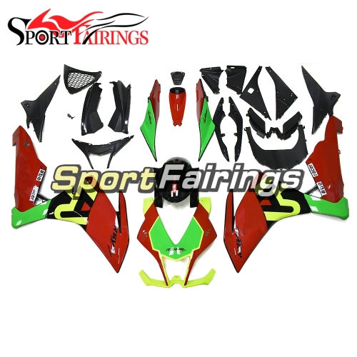 Fairing Kit Fit For Aprilia RSV4 1000 2010 - 2015 - Red Green Fluorescent Yellow