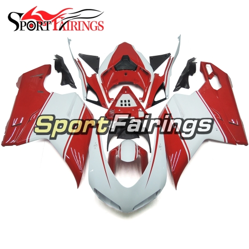Complete Fairing Kit Fit For Ducati 1098 1198 848 2007 - 2012 - Glossy White Red