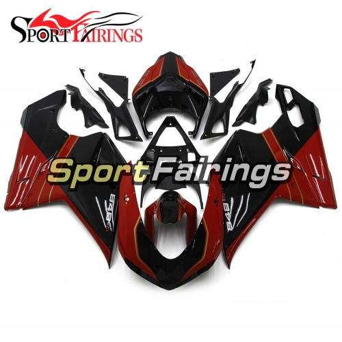 Motorcycle Fairing Kit Fit For Ducati 1098 1198 848 2007 - 2012 - Gloss Black Red