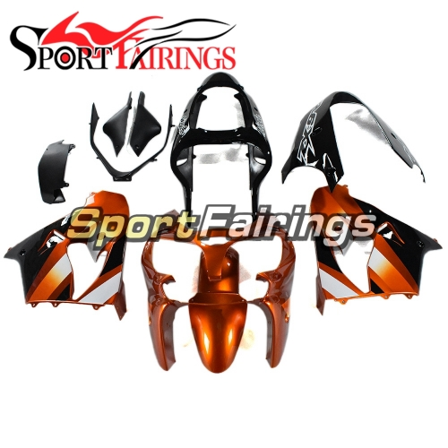 Complete Fairing Kit Fit For Kawasaki ZX9R 2000 - 2001 - Orange Black Edition