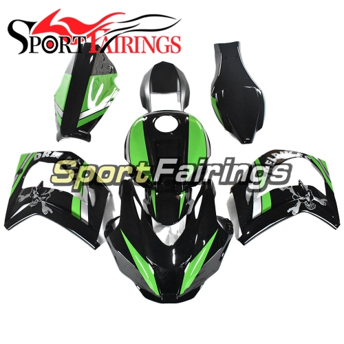 Full Fiberglass Racing Fairing Kit Fit For Kawasaki ZX10R 2016-2018 - Gloss Green Black
